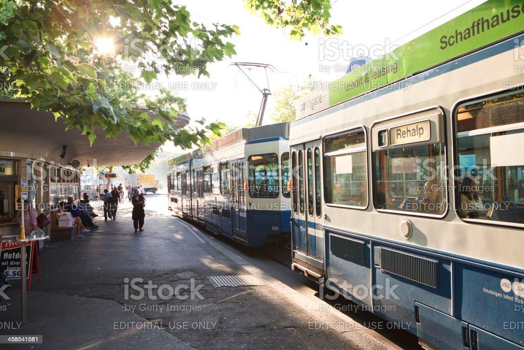 Tramway in Zurich, Switzerland stock photo