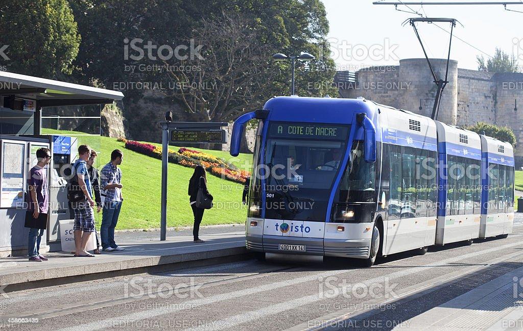 Tramway of Caen stock photo