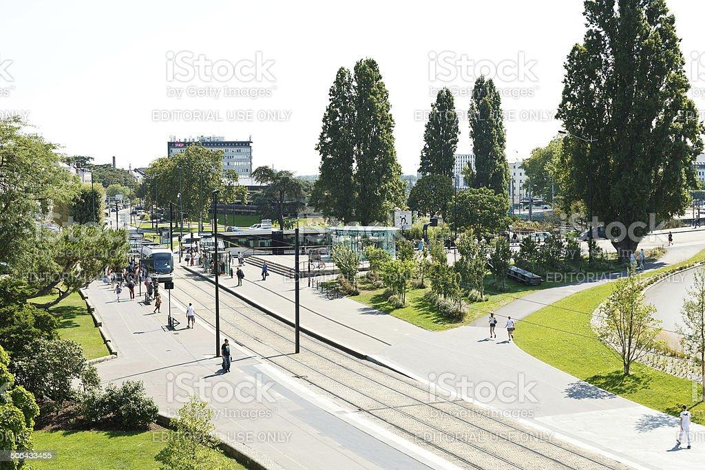 tramway on square Elisa Mercoeur in Nantes, France stock photo