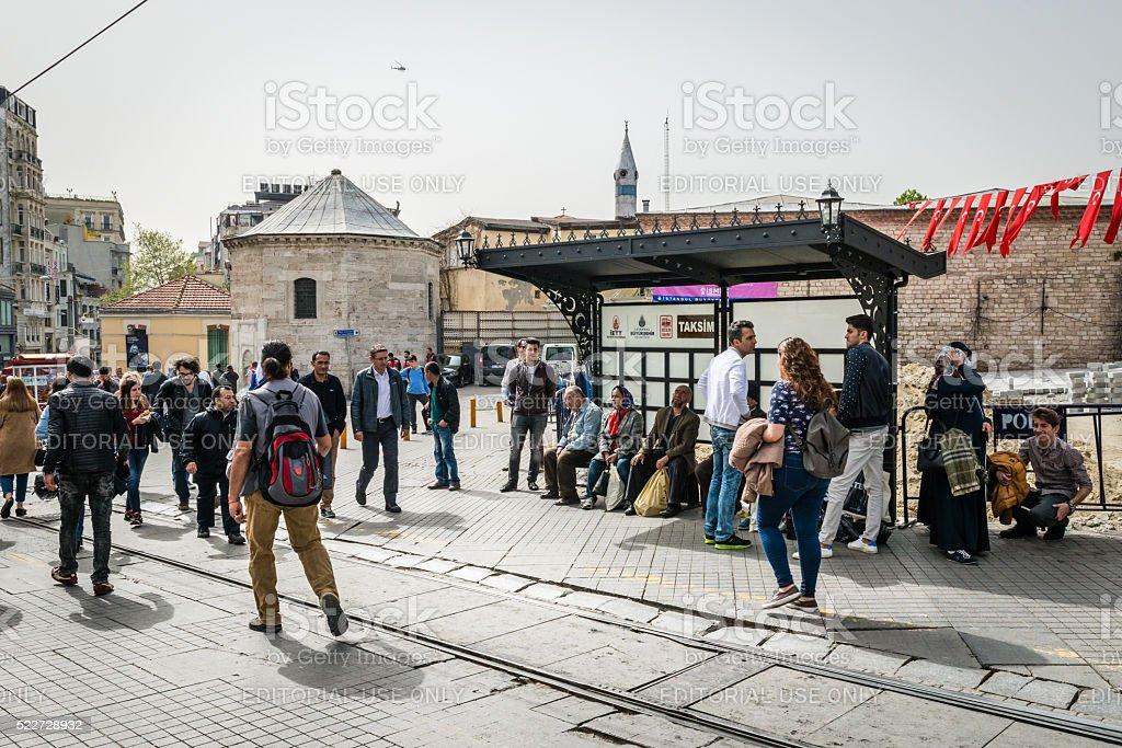 Tramway stop in Taksim, Istanbul, Turkey stock photo