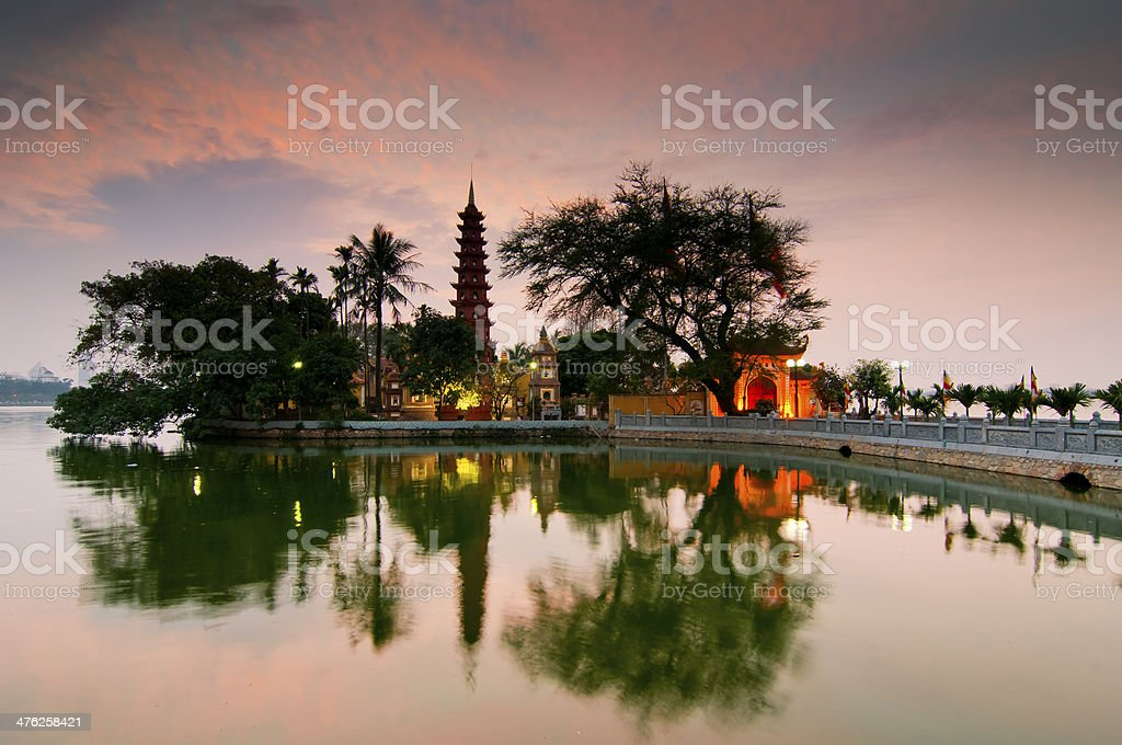 Tran Quoc pagoda in sunset stock photo