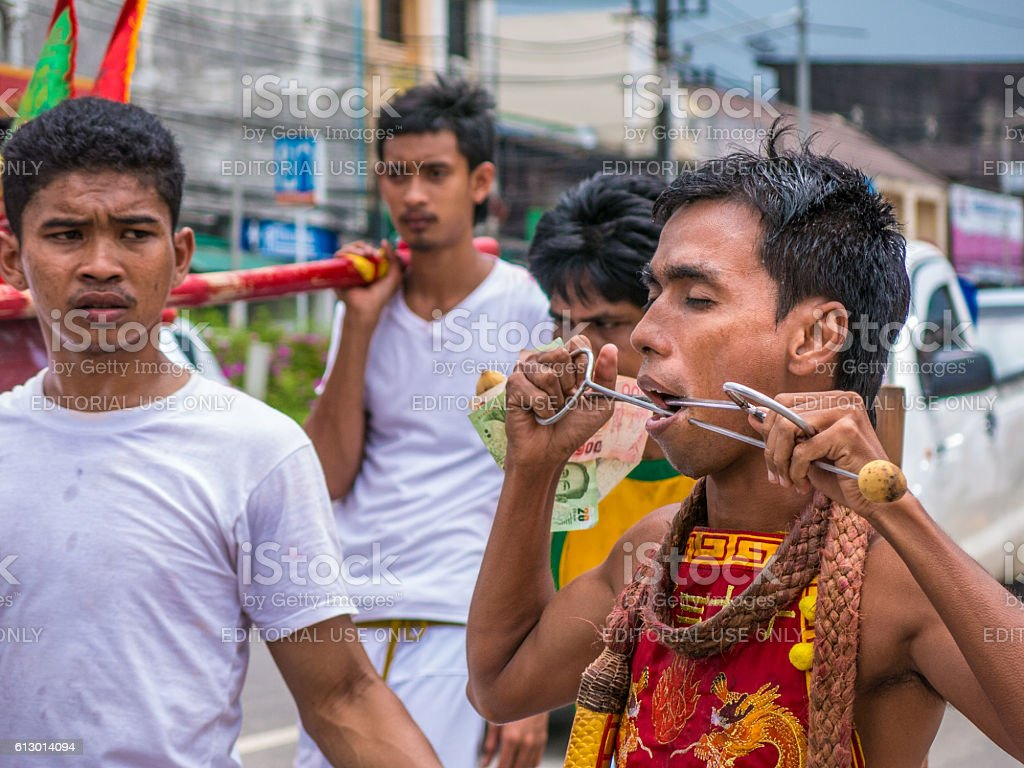 Trance Festival Man Pierced Vegetarian Thailand Body Modification stock photo