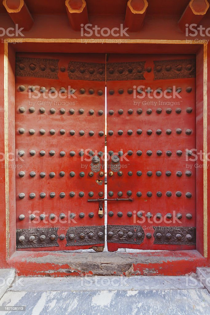 tranditional Chinese closed door royalty-free stock photo