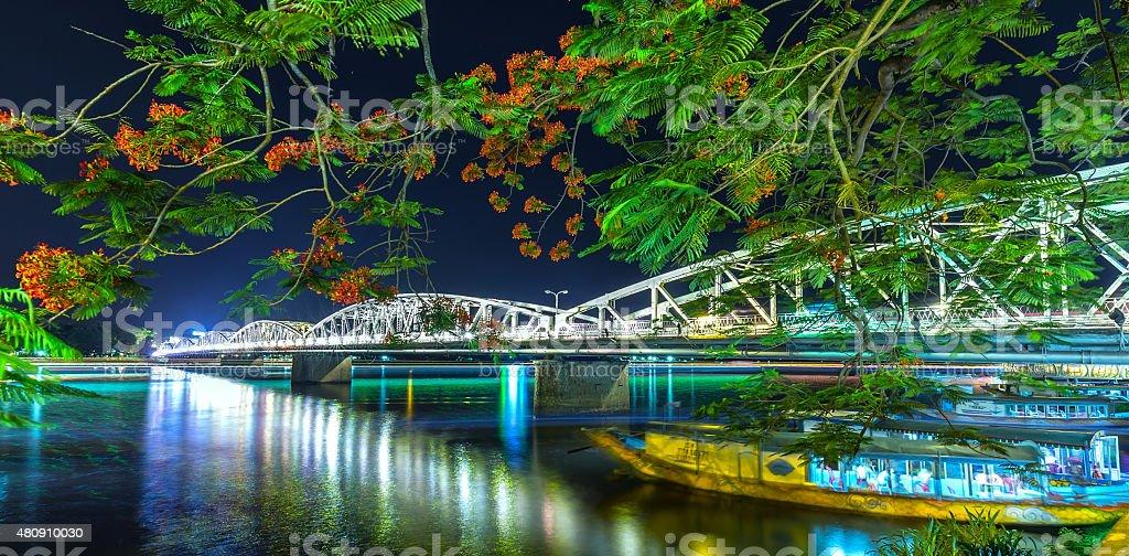 Trang Tien Bridge at night stock photo