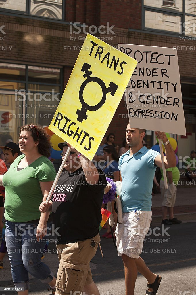 Trangender Rights Protest Signs During Halifax Pride Parade stock photo