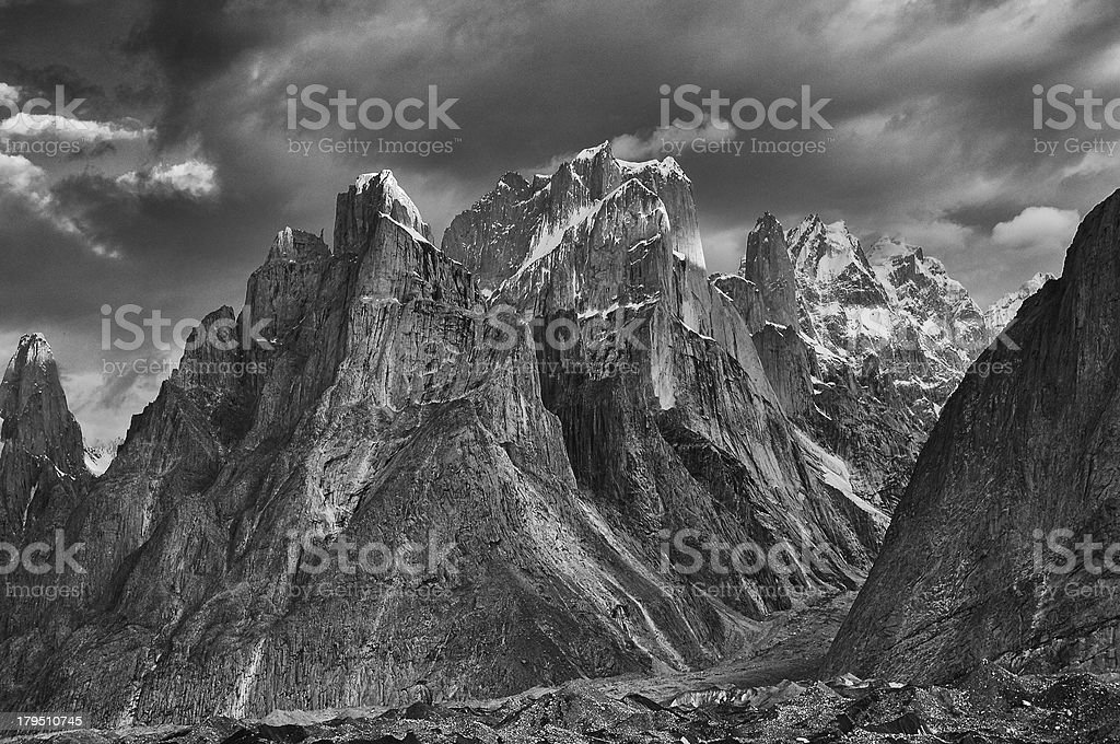 Trango Towers after the storm stock photo