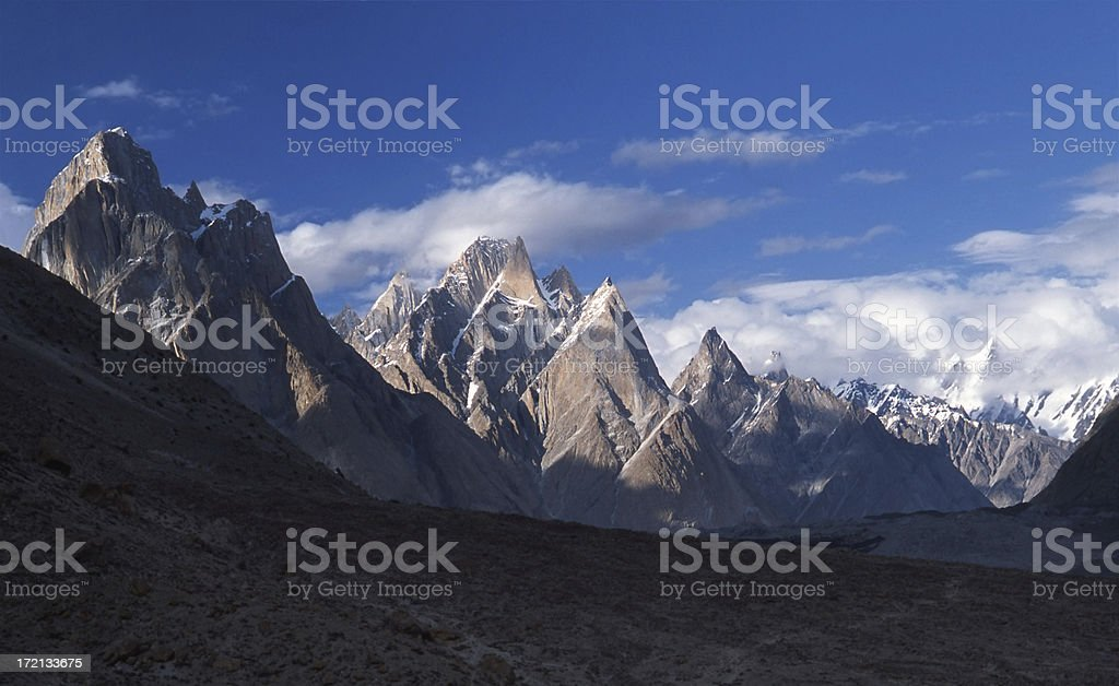 Trango Towers at sunset royalty-free stock photo