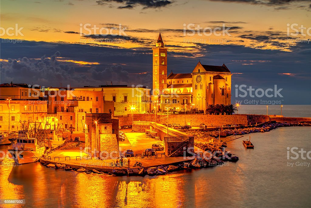 Trani cathedral in the evening, Apulia region, Italy stock photo