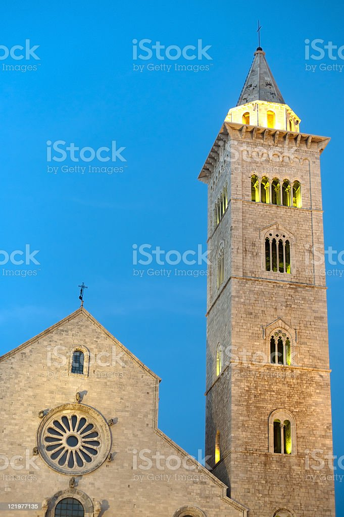Trani (Puglia, Italy) - Medieval cathedral at night royalty-free stock photo