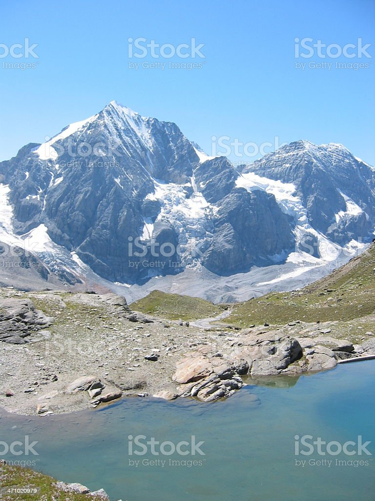 Tranquil Alpine lake stock photo