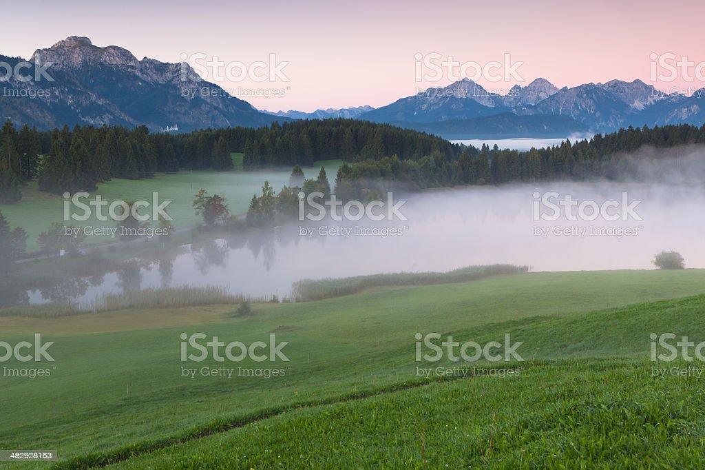 tranquil autumn scene on a bavarian lake stock photo