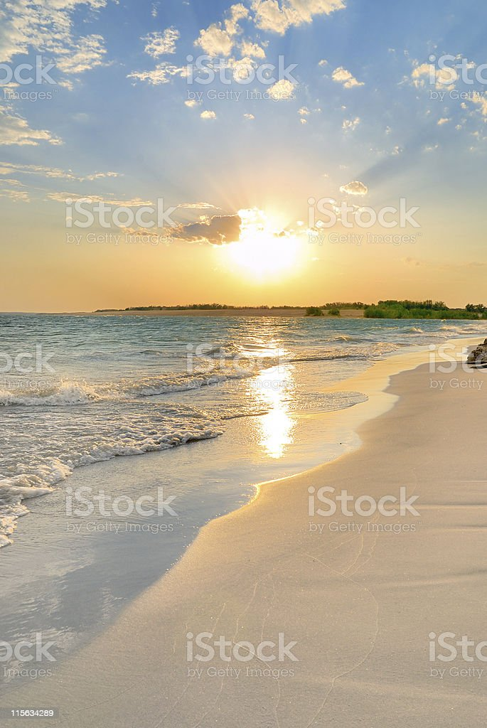 Tranquil Beach Sunset royalty-free stock photo