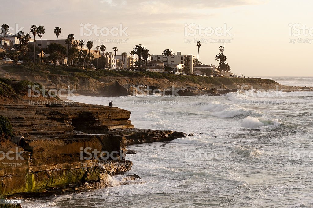 Tranquil California Coastline during a Sunset stock photo