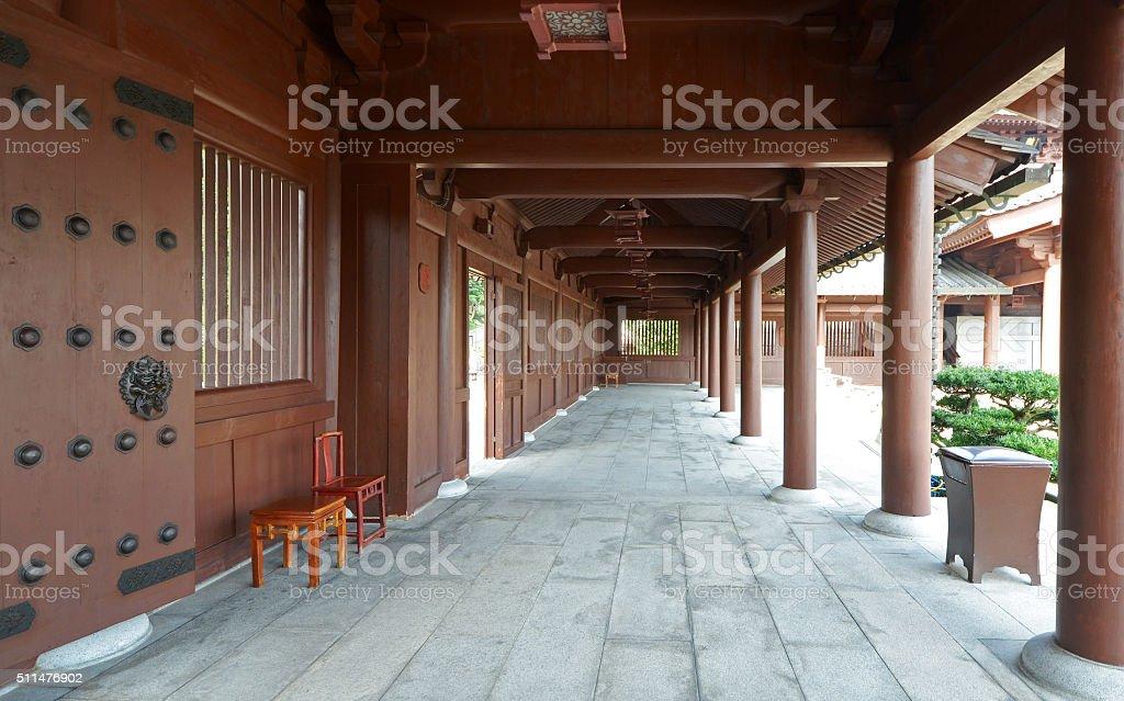Tranquil Corridor, Chi Lin Nunist Temple, Hong Kong stock photo