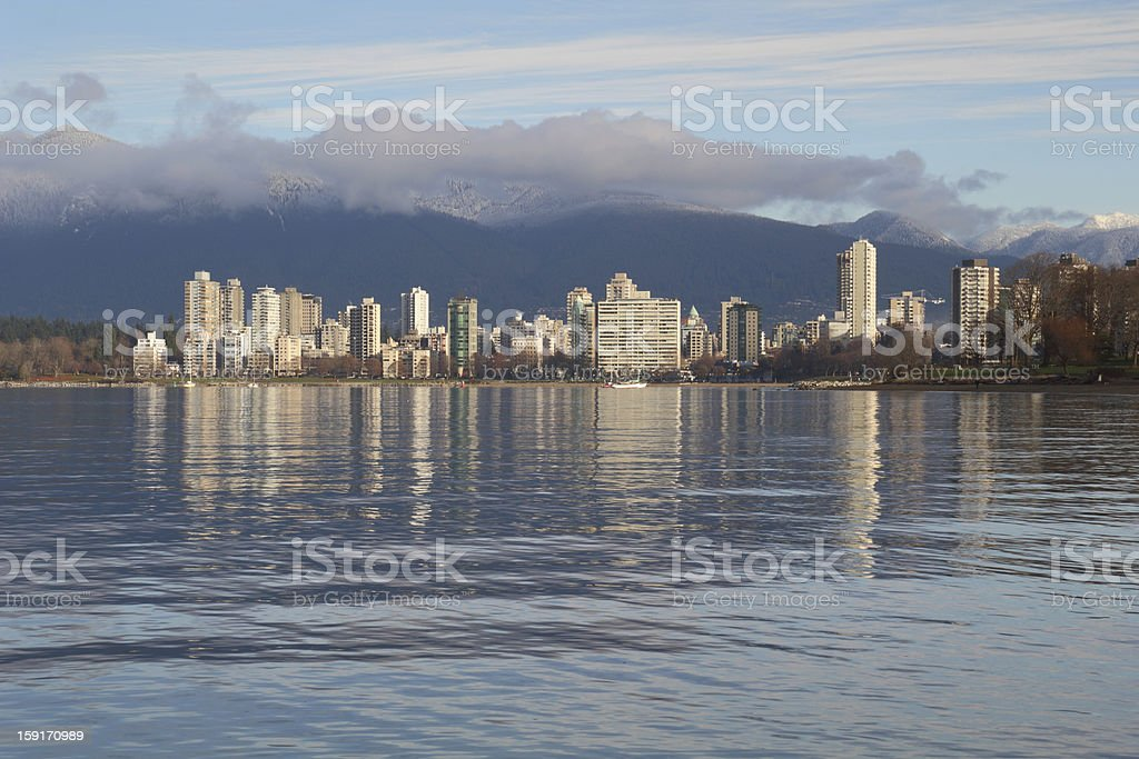 Tranquil English Bay, Vancouver Cityscape stock photo