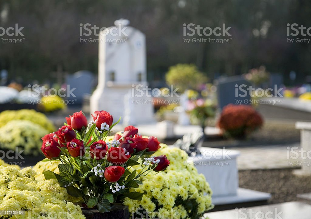 Tranquil flower scene at graveyard royalty-free stock photo