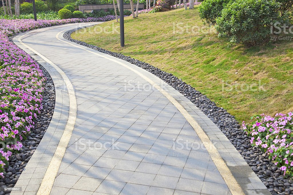Tranquil Garden Walkway royalty-free stock photo