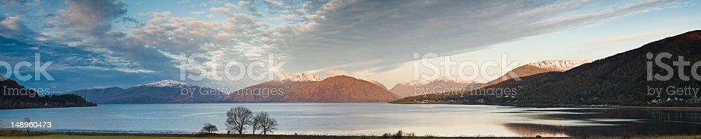 Tranquil Highland dawn panorama stock photo