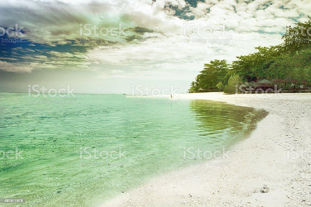 Tranquil island beach stock photo