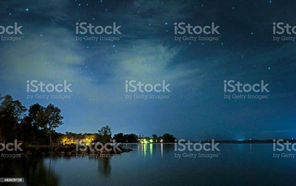 Tranquil Lake Below Evening Stars stock photo
