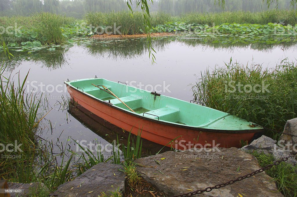 Tranquil lake boat royalty-free stock photo