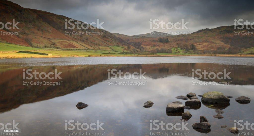 Tranquil lake scene, Watendlath Tarn stock photo