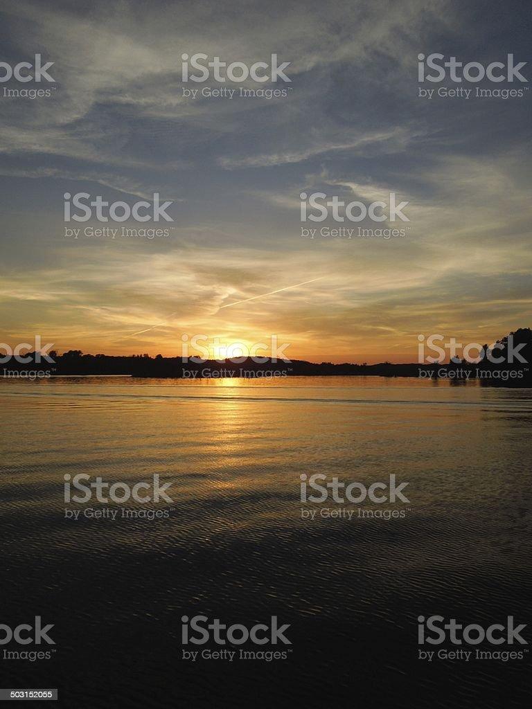 Tranquil Lakeside Sunset stock photo