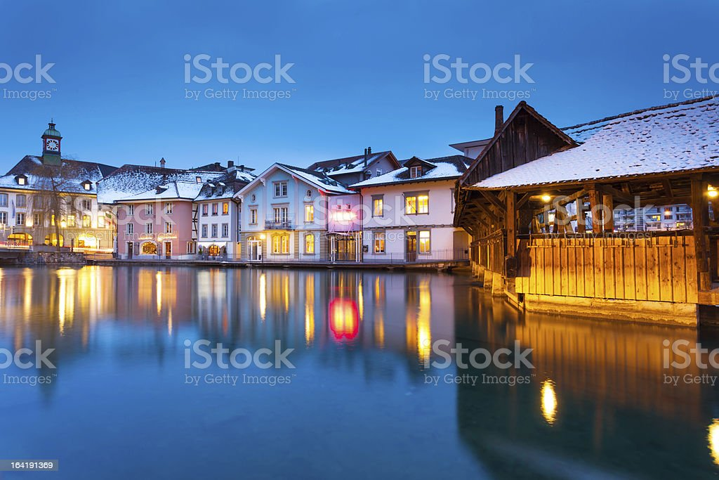 Tranquil Night in Switzerland stock photo