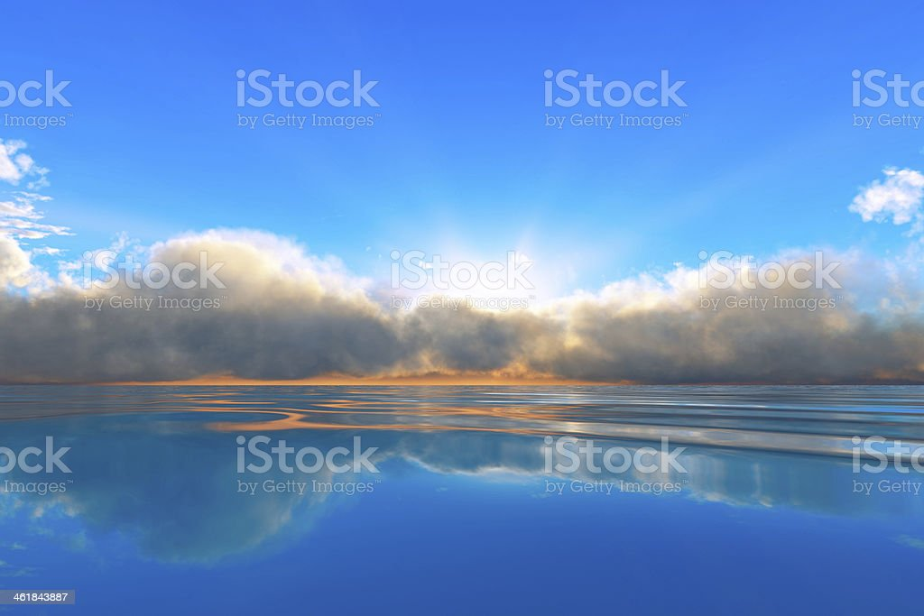 tranquil ocean sunset stock photo