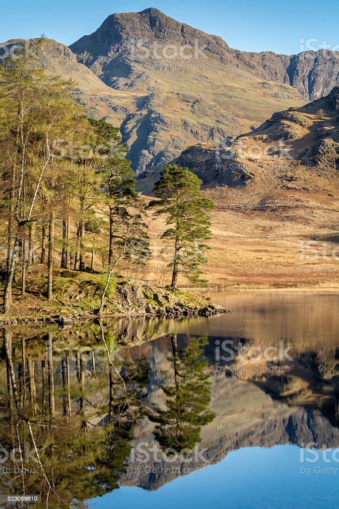 Tranquil Reflections In Lake On A Spring Morning. stock photo