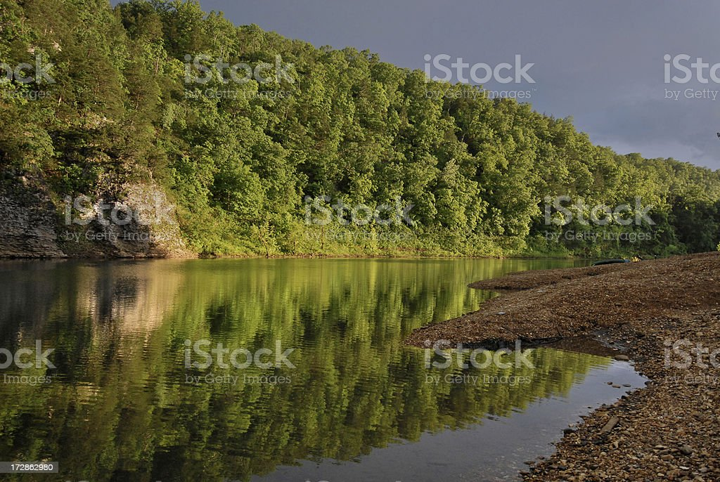 Tranquil River After the Storm stock photo