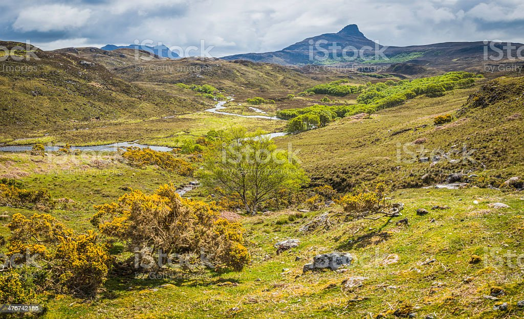 Tranquil river valley green mountain glen Inverpolly wilderness Highlands Scotland stock photo