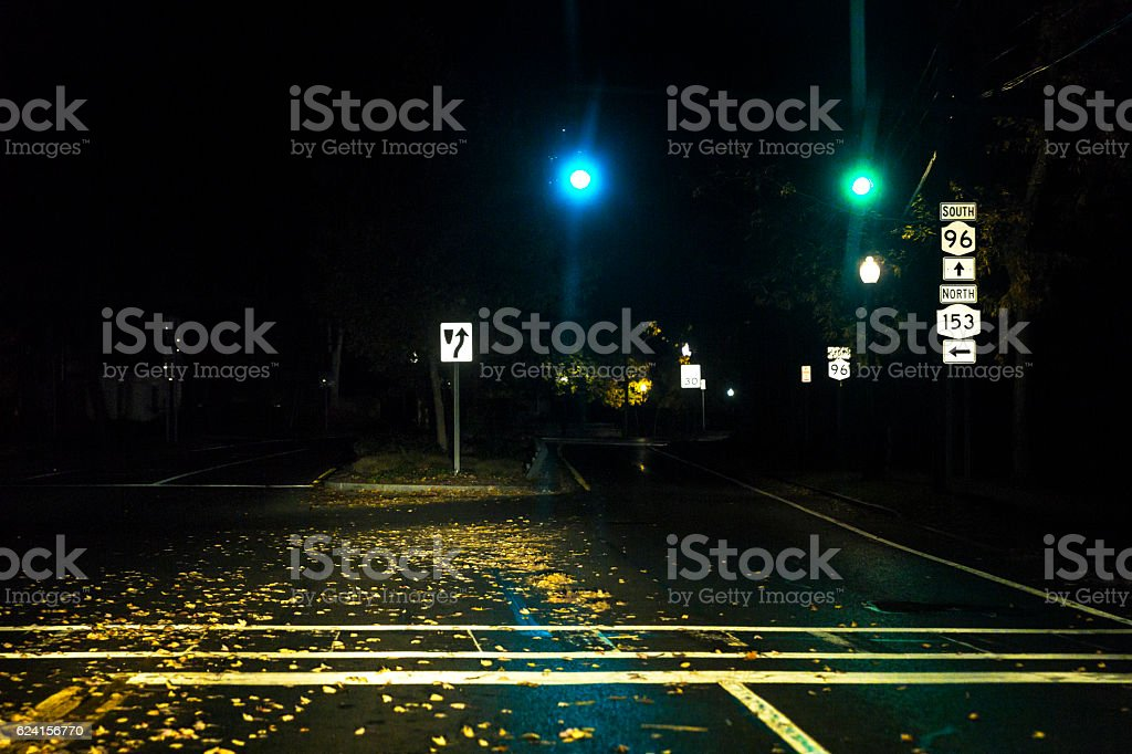 Tranquil Rural Village Autumn Late Night Stoplight Road Intersection stock photo