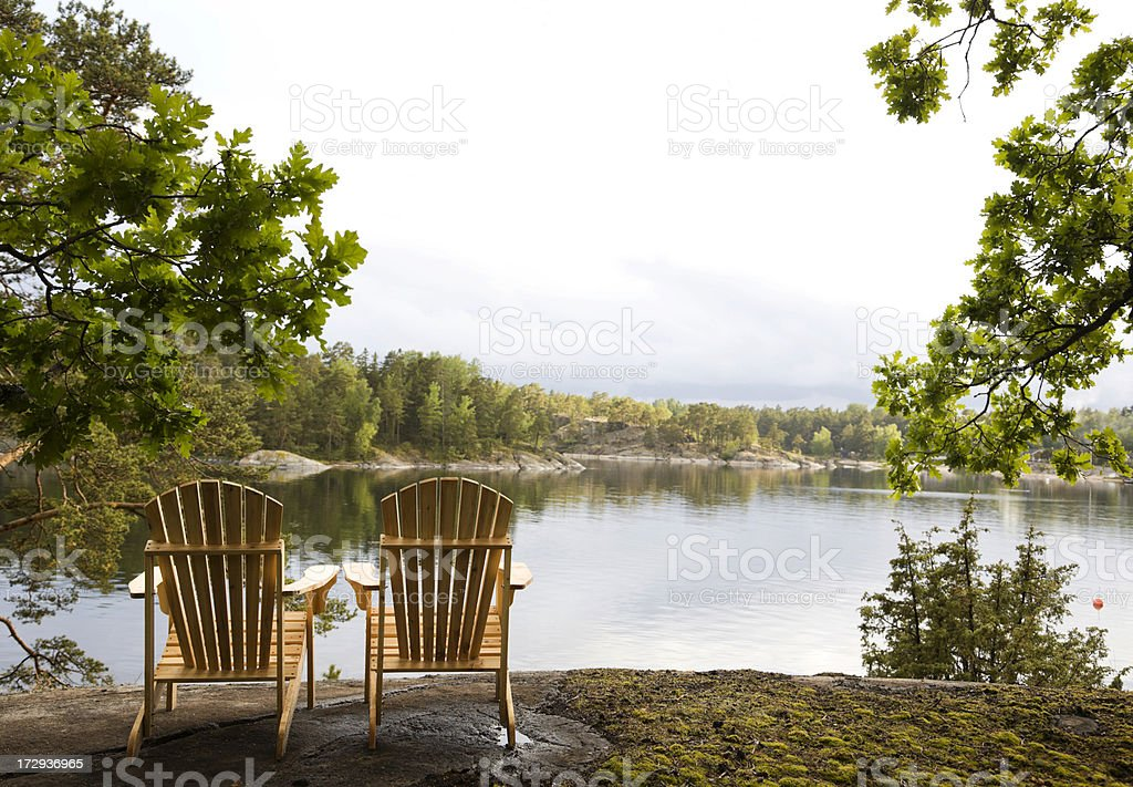 Tranquil scene by the water stock photo