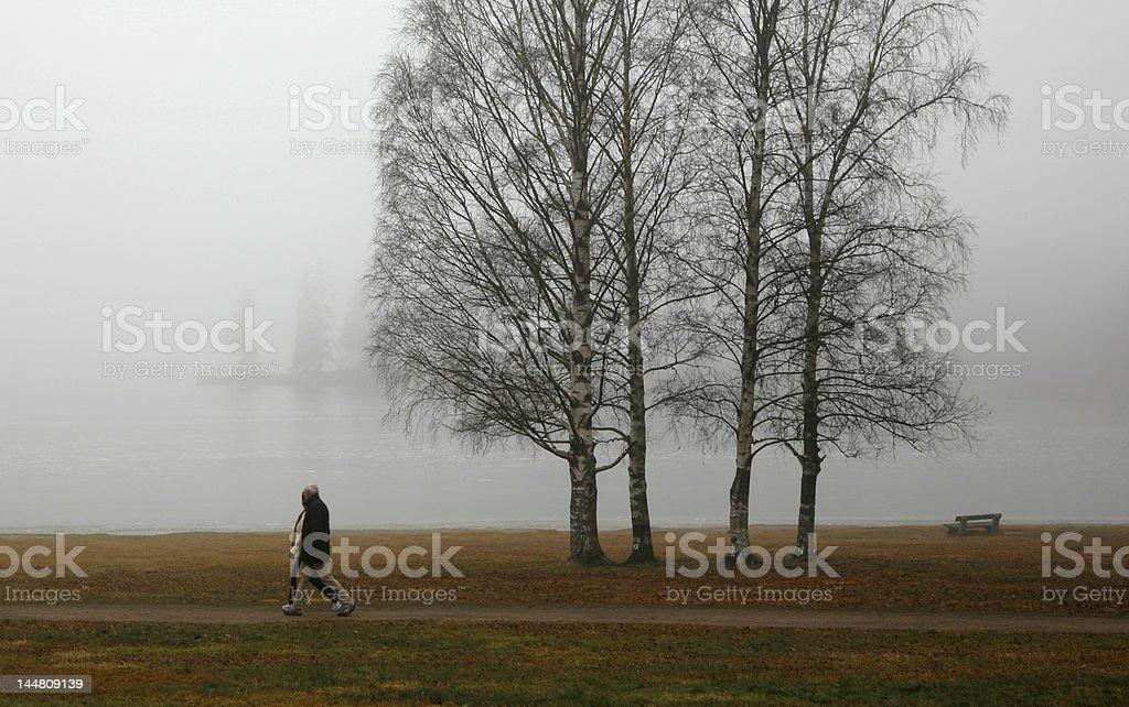 Adult couple walking along a lake late in November.