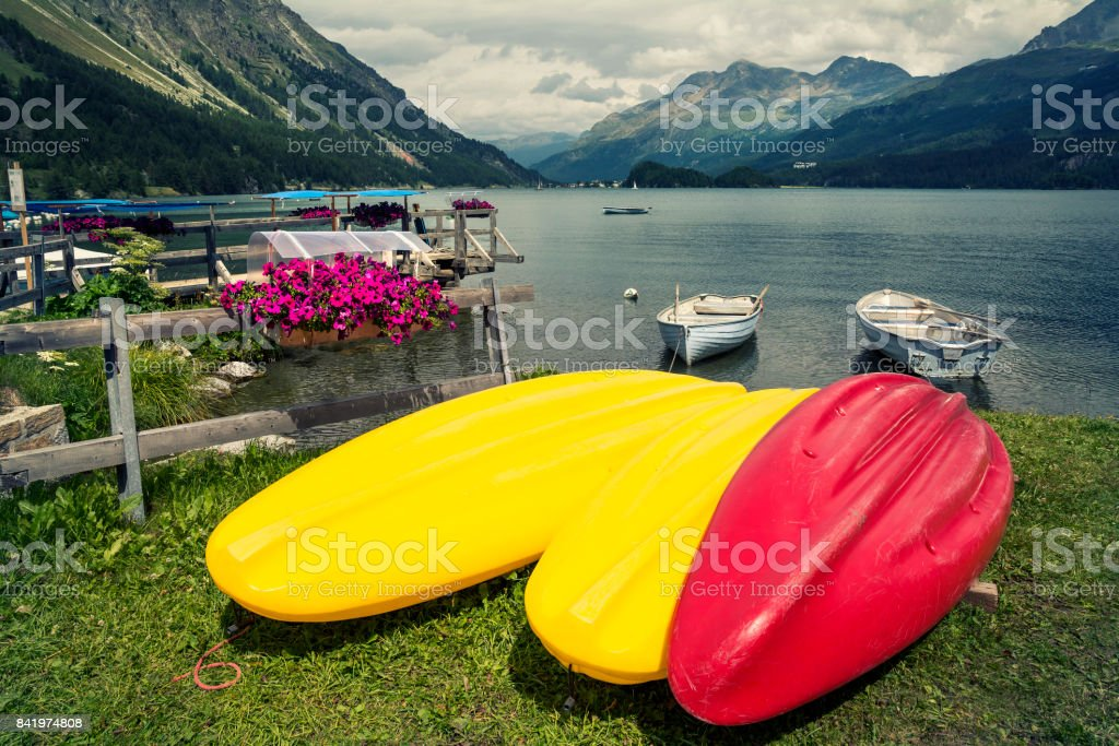 Tranquil scene with boats on the Sils Lake, Switzerland stock photo