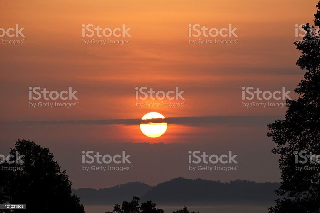 Tranquil sunrise stock photo
