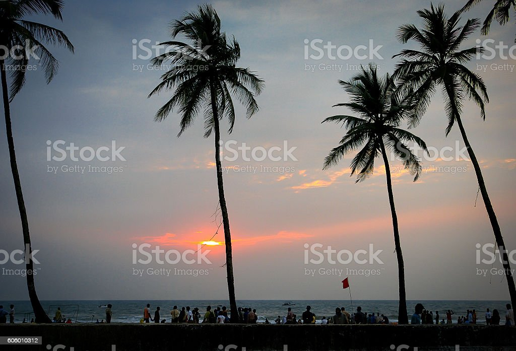 Tranquil sunset at Colva beach, South Goa, India stock photo