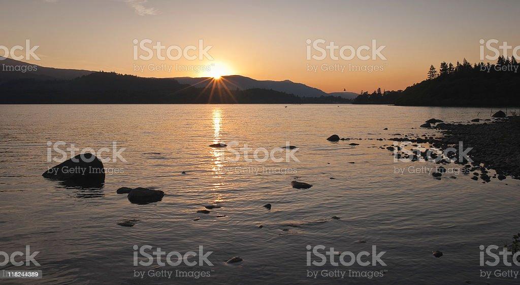 Tranquil Sunset, Lake District, UK stock photo