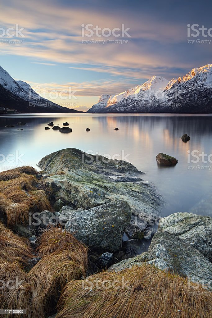 Tranquil sunset stock photo