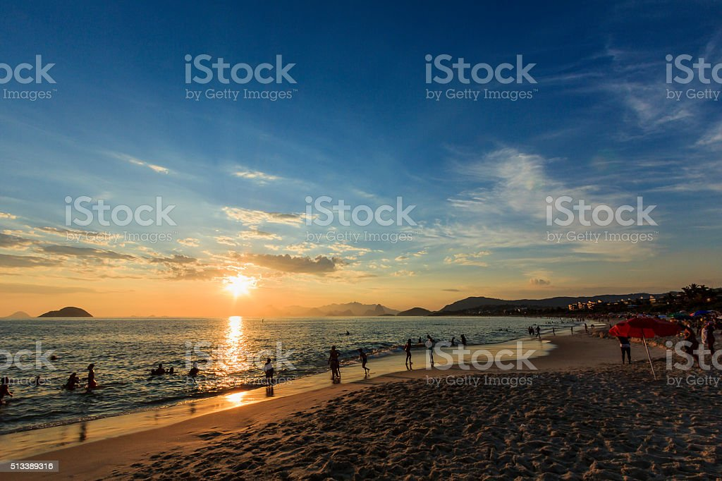 Tranquil Tropical Beach at Sunset stock photo