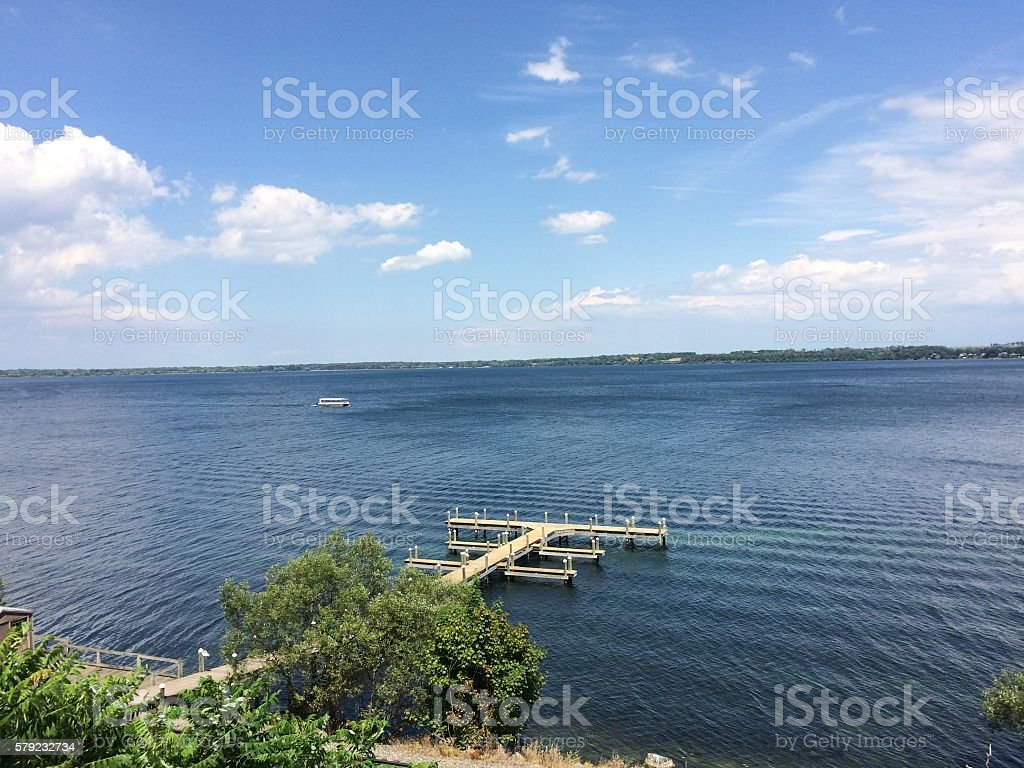 Tranquil view of a dock on a lake stock photo