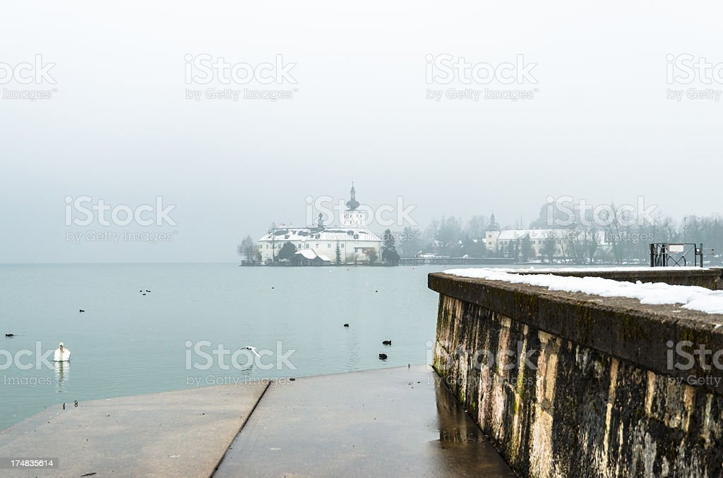 Tranquil Winter Scenery at Lake Traun royalty-free stock photo