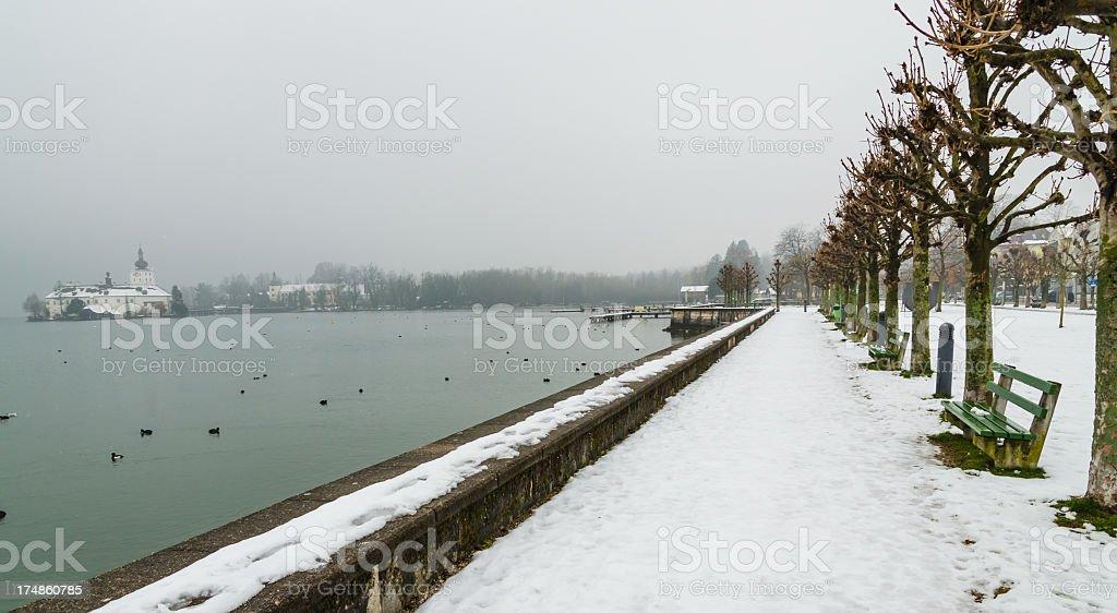 Tranquil Winter Scenery at Lake Traun royalty-free stock photo