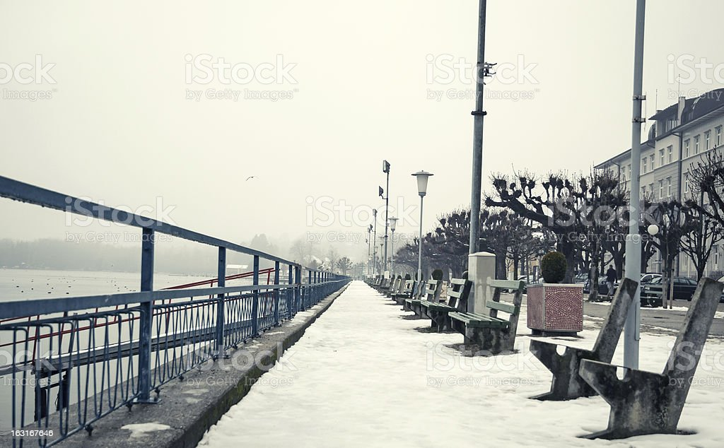 Tranquil Winter Scenery at Pier Gmunden stock photo