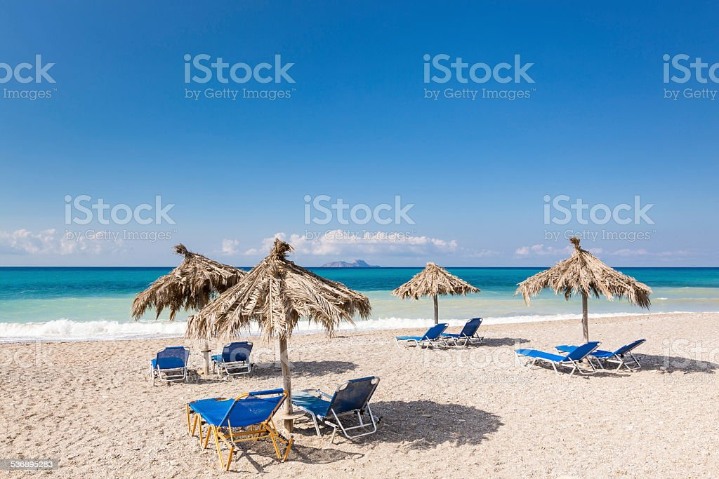 Tranquility of crete beach stock photo
