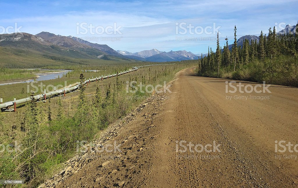 Trans Alaska Pipeline and the Dalton Highway in Summer stock photo