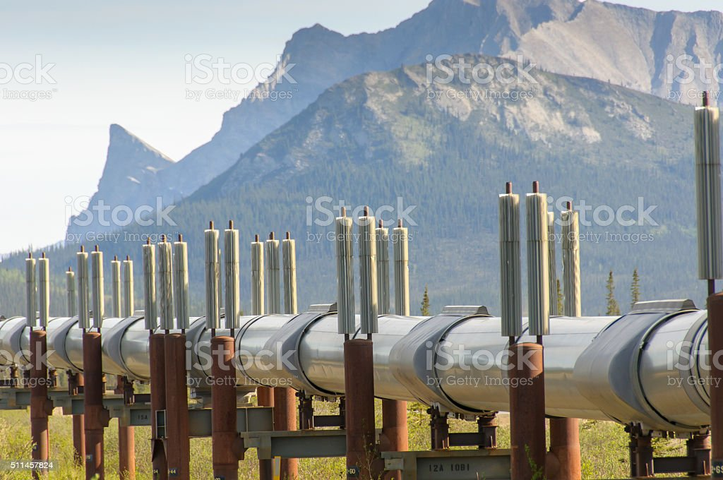 Trans Alaska Pipeline Close Up with Mountains stock photo