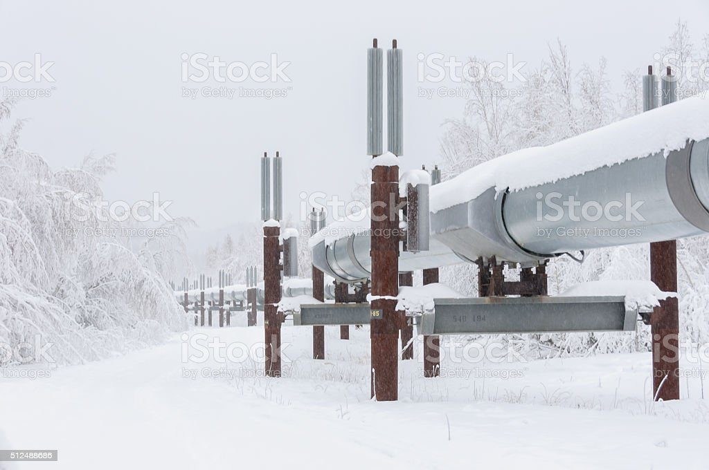 Trans Alaska Pipeline in Snow in Alaska stock photo