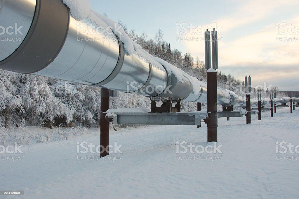Trans Alaska Pipeline in Winter stock photo